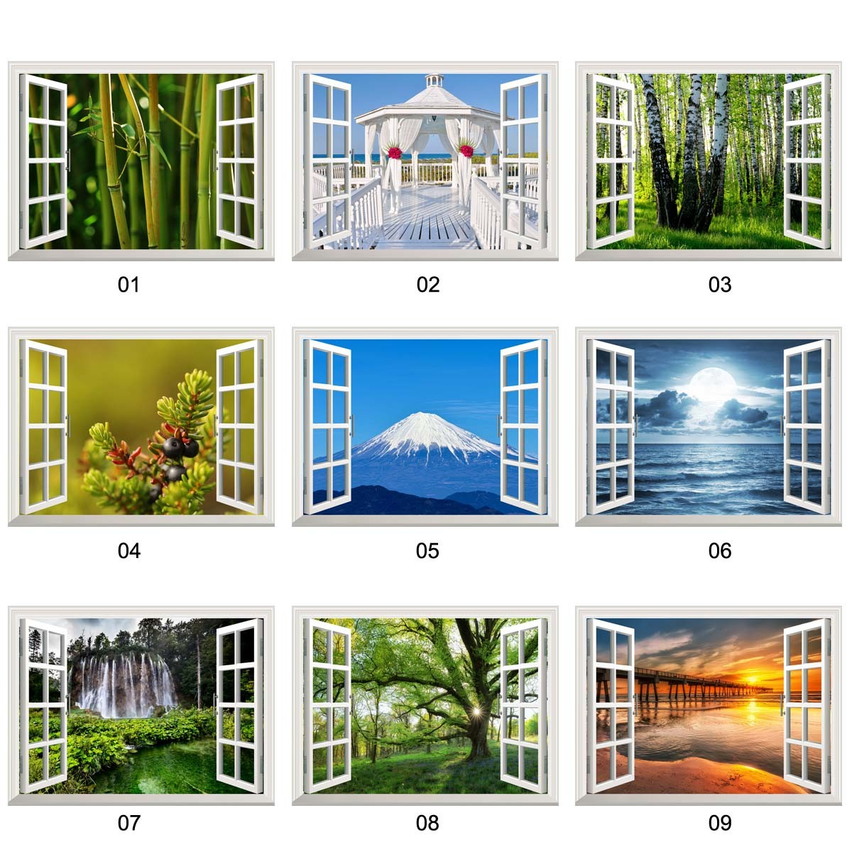 removable wall sticker wall mural 3d open window forest scenery 3d removable open window