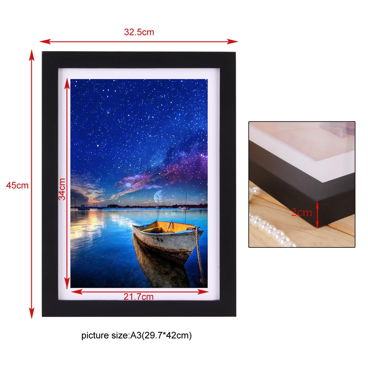 A3 wooden photo frame wall art print home decor multi for Multi frame wall art