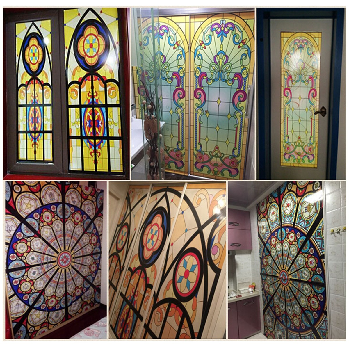 vintage flowers stained glass decorative window film cling static privacy films. Black Bedroom Furniture Sets. Home Design Ideas
