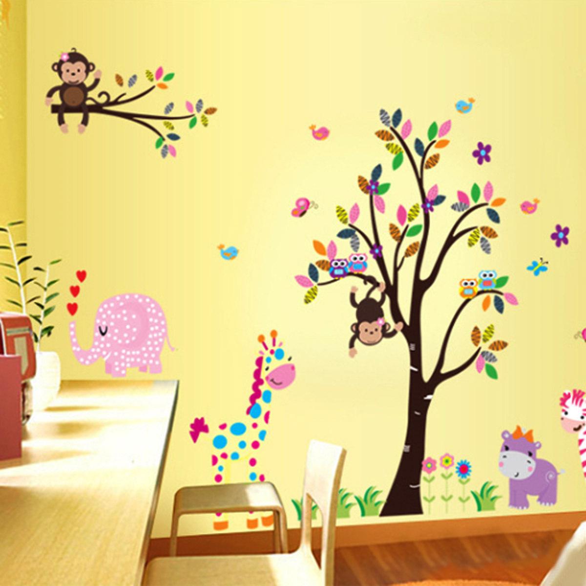 Cute cartoon wall sticker animals zoo removable nursery for Cute wall decor