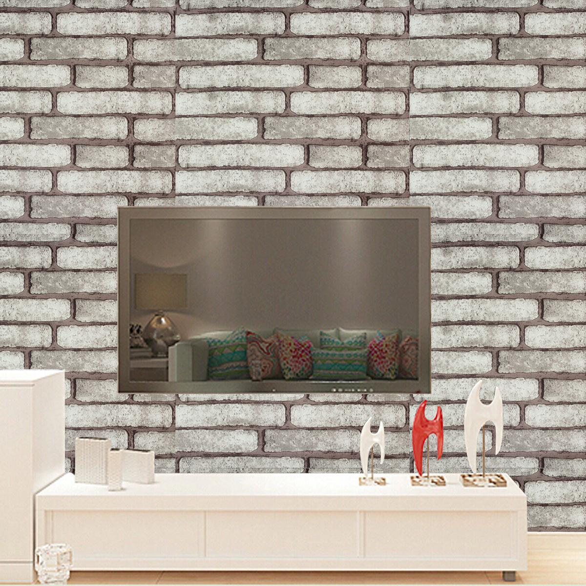 10m 3d wallpaper faux brick stone self adhesive waterproof - Fake brick wall decoration ...