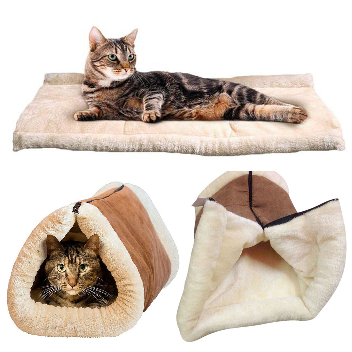 2 In 1 Pet Tunnel Bed Mat Cat Cushion Dog Puppy Pad Fleece