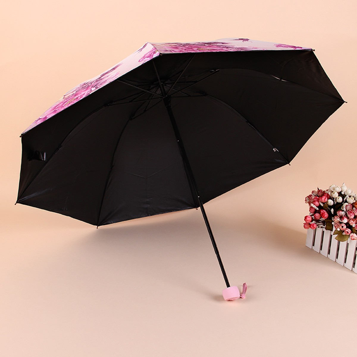 new floral compact folding anti uv rain daisy women lady parasol sun umbrella ebay. Black Bedroom Furniture Sets. Home Design Ideas