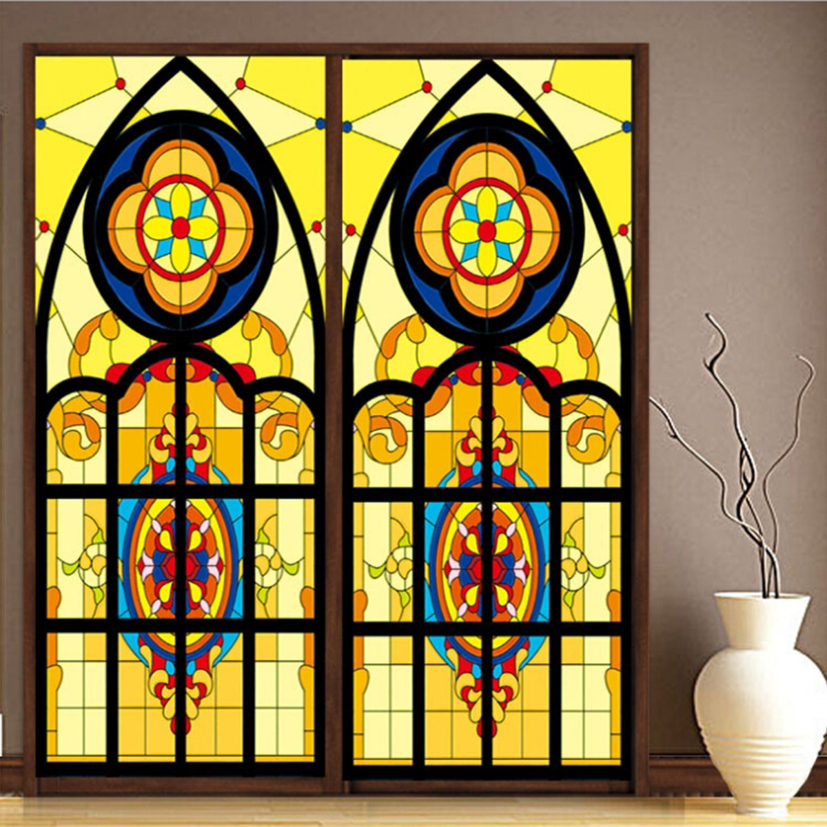 retro colorful peacock privacy stained glass window film static cling film decor ebay. Black Bedroom Furniture Sets. Home Design Ideas