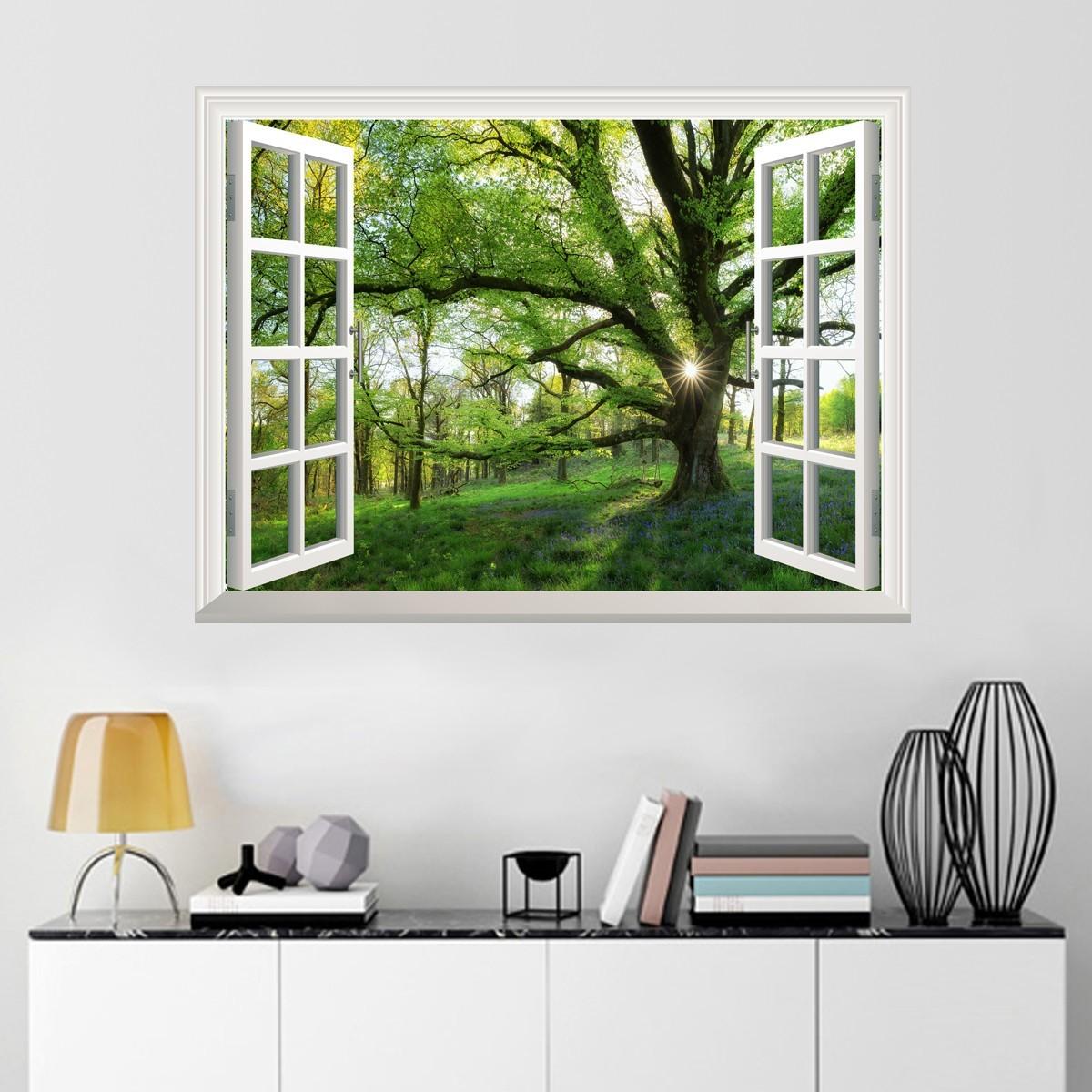 3d fenster ausblick fr hling wandaufkleber wandtattoos sticker vinyl 80 60cm ebay. Black Bedroom Furniture Sets. Home Design Ideas