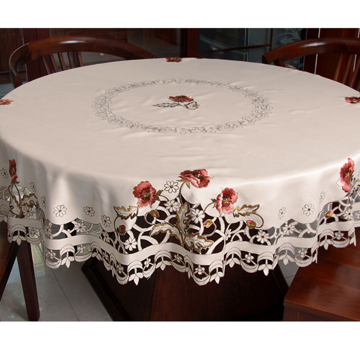 Round Peony Embroidered Cutwork Tablecloth Xmas Table