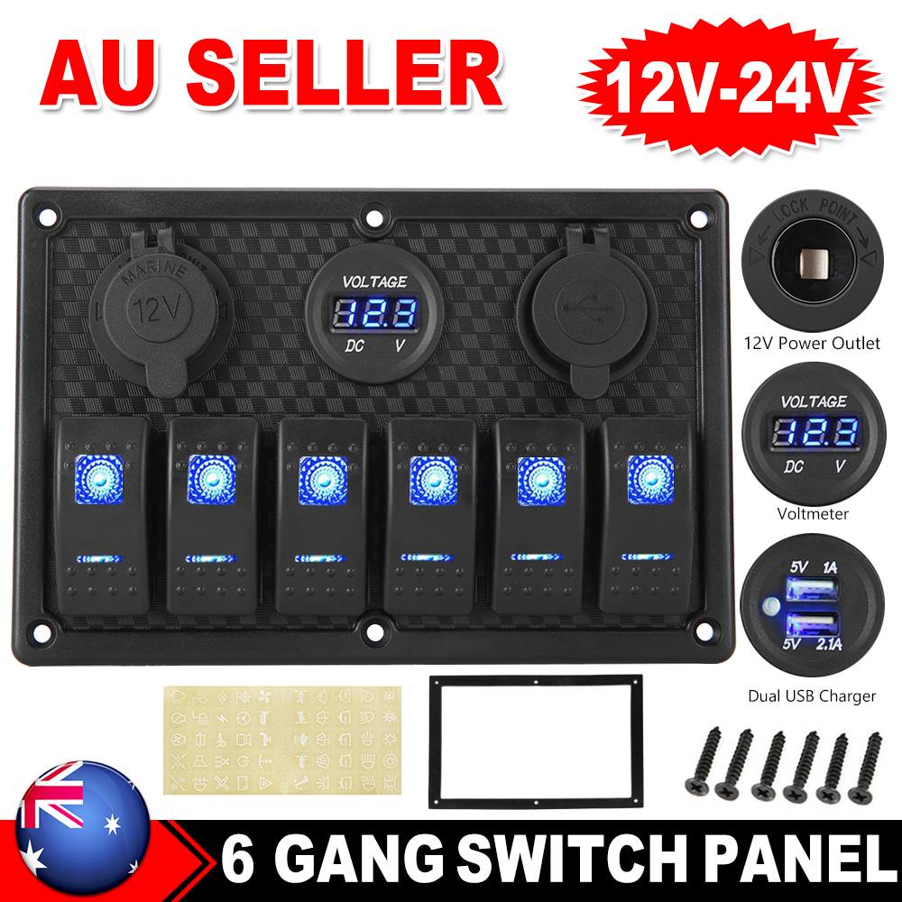 10 Gang Waterproof Car Auto Boat Marine LED AC//DC Rocker Switch Panel Dual 15 CN