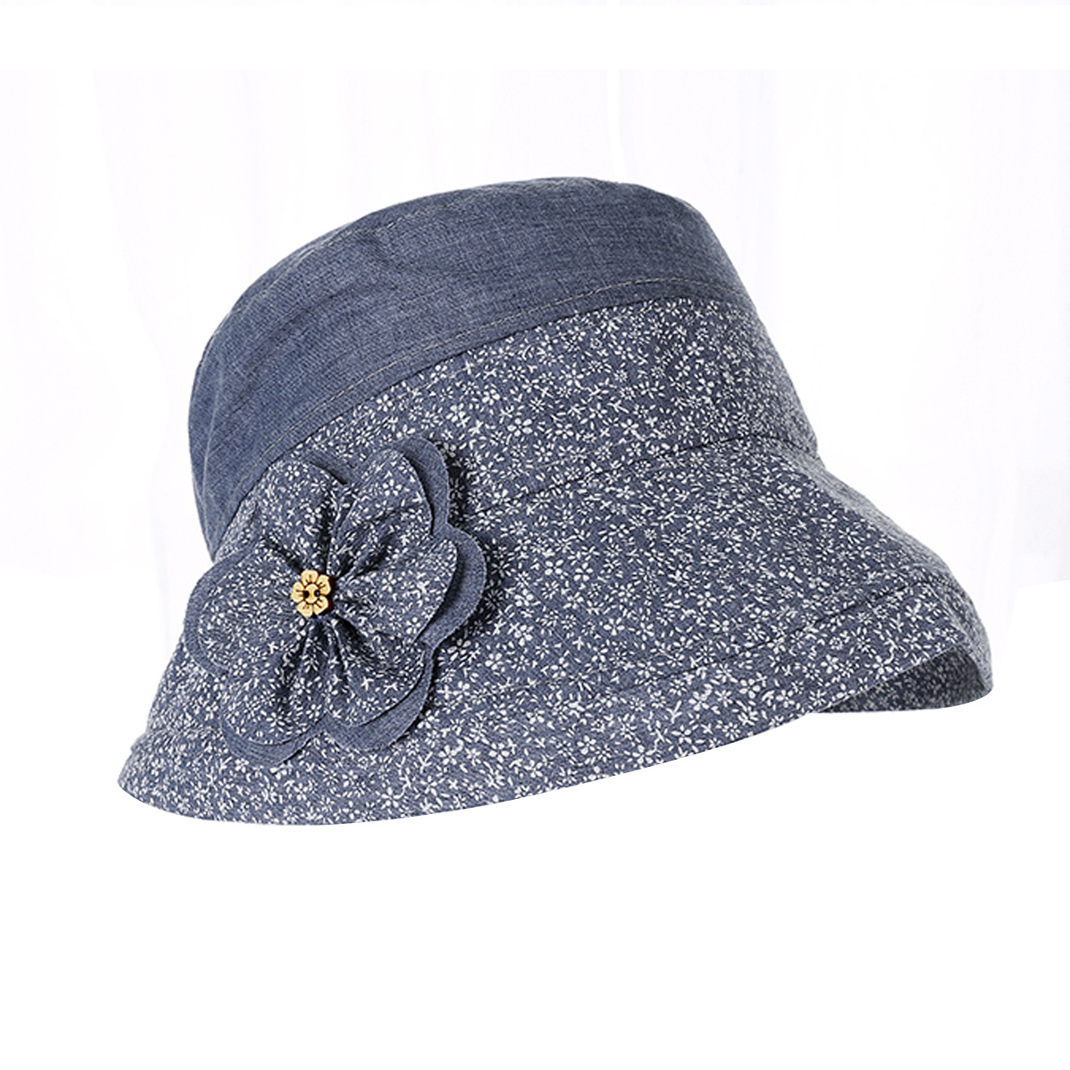 Womens floral flower bucket hat cotton fishing camping for Womens fishing hat