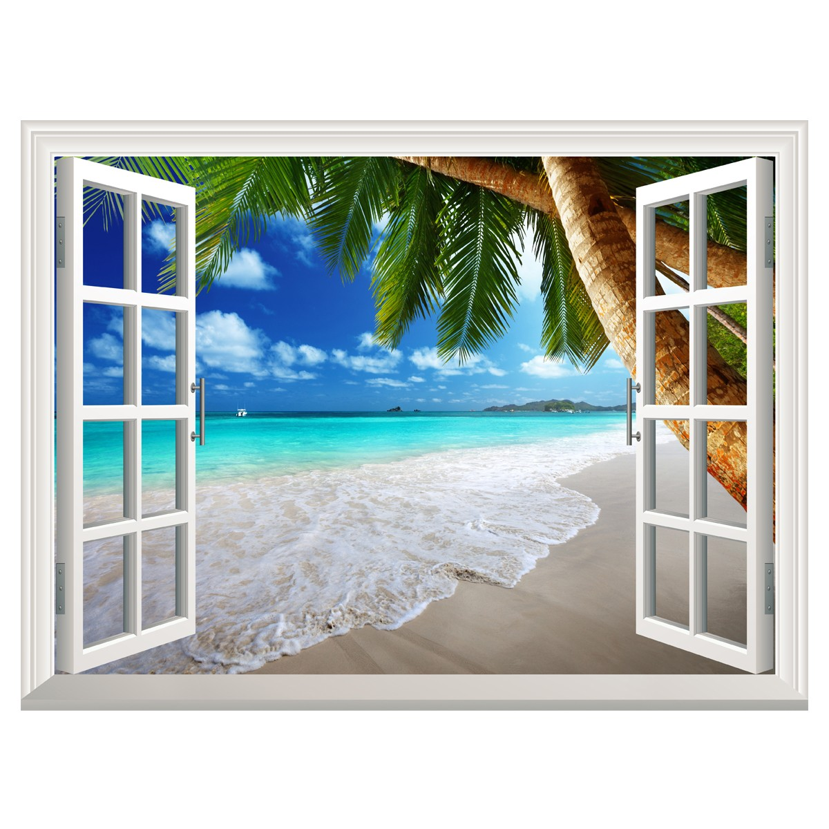 3d exotic beach window view decal wall sticker home decor for Poster trompe oeil fenetre